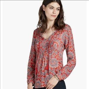 Lucky Brand Red Paisley Top